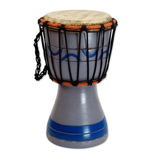 Wood Mini Djembe Drum, 'Anomabu Waves' (Ghana)
