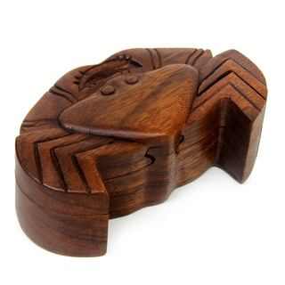 Handmade Wood Puzzle Box, 'Balinese Crab' (Indonesia)