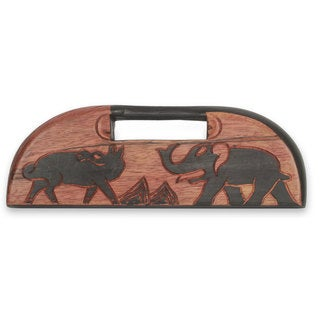 Oware Wood Table Game, 'Elephant Vs Dog' (Ghana)