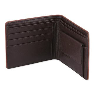 Men's Leather Wallet, 'Just Right In Espresso Brown' (India)