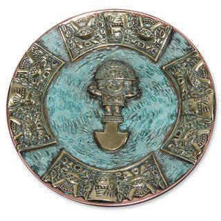 Bronze and Copper Decorative Plate, 'Ceremonial Tumi Blade' (Peru)
