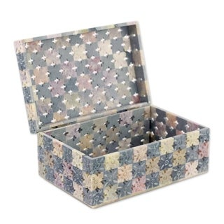 Soapstone Box, 'Patchwork Blossoms' (India)