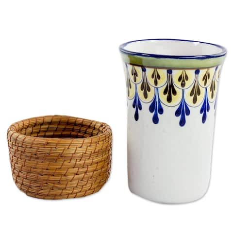 Ceramic and Pine Needle Cup With Cup Holder, 'Country Beverage' (Guatemala)