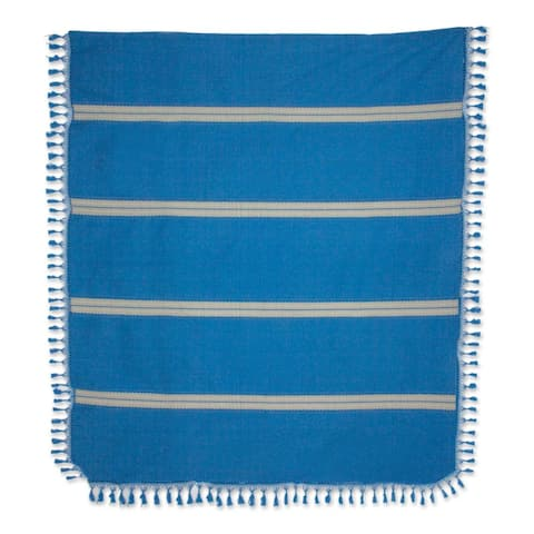 Zapotec Cotton Bedspread, 'Oaxaca Ocean'