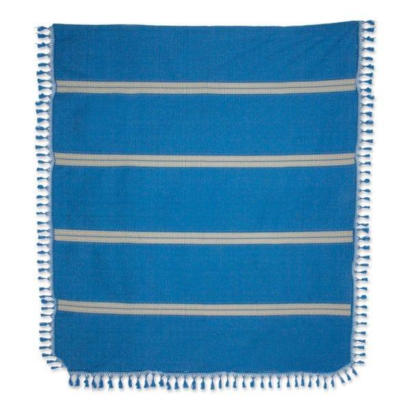 Zapotec Cotton Bedspread, 'Oaxaca Ocean' (Mexico)