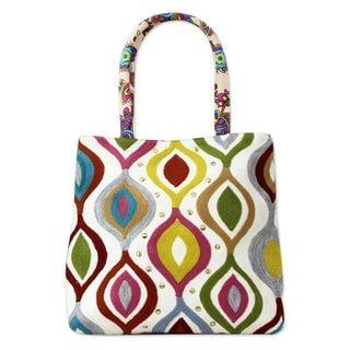 Cotton Tote Handbag, 'Color Melange' (India)