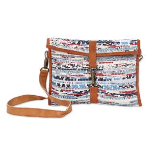 Handmade Leather Accent Recycled Cotton Sling Bag, 'Simply Chic' (India)