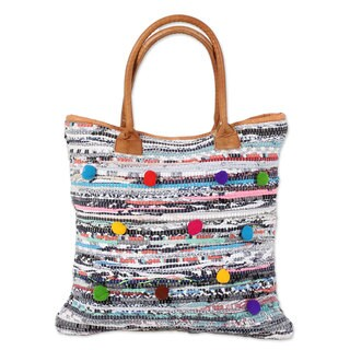 Leather Accent Recycled Cotton Tote Handbag, 'Pompom Beauty' (India)