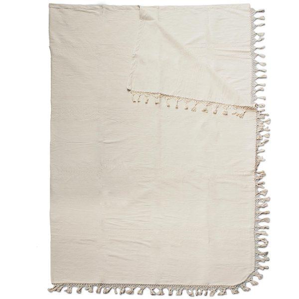 Cotton Blanket, 'Ivory Memories' (Mexico)