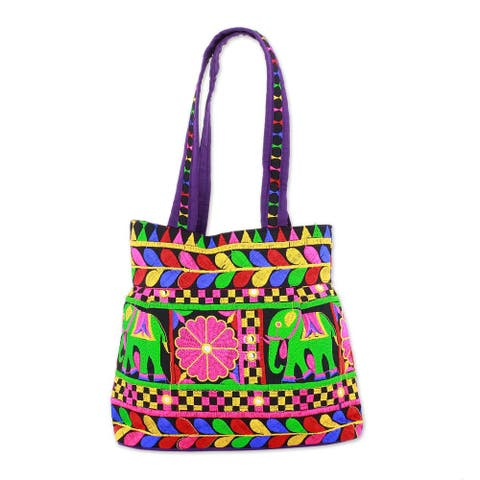 Embroidered Tote Handbag, 'Elephant Fantasies in Iris' (India)