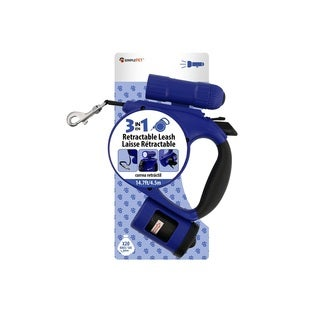 Simple Pet Retractable Leash with Bag Dispenser and Flashlight, Blue