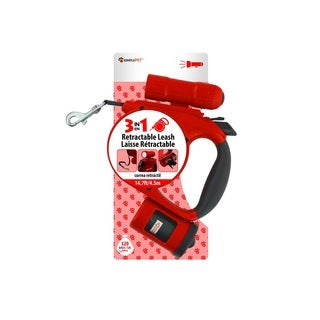 Simple Pet Retractable Leash with Bag Dispenser and Flashlight, Red