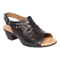 Women's Rockport Cobb Hill Abbott Hi Vamp Sling Sandal Black Leather