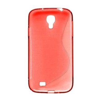Insten Red Clear S Shape TPU Rubber Candy Skin Case Cover For Samsung Galaxy S4 GT-i9500