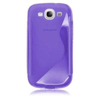 Insten Purple Clear S Shape TPU Rubber Candy Skin Case Cover For Samsung Galaxy S3 GT-i9300