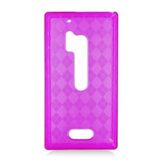 Insten Purple Clear Checker TPU Rubber Candy Skin Case Cover For Nokia Lumia 928