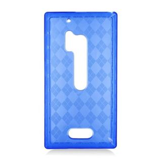 Insten Blue Clear Checker TPU Rubber Candy Skin Case Cover For Nokia Lumia 928