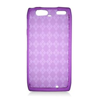 Insten Purple Clear Checker TPU Rubber Candy Skin Case Cover For Motorola Droid Razr Maxx