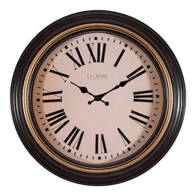 La Crosse Clock 404-3045BK 18 Inch Round Antique Brown Quartz Clock