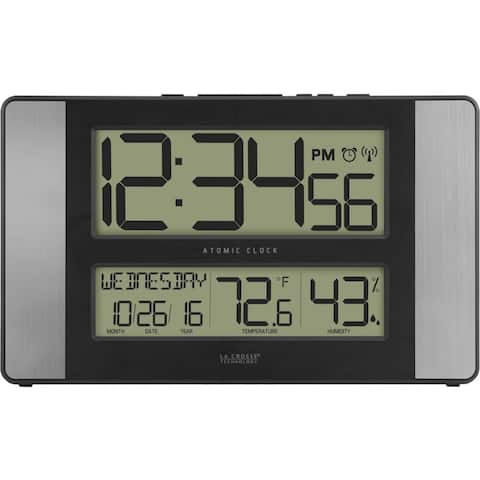 La Crosse Technology 513-1417H-AL Atomic Digital Wall Clock with Indoor Temp and Humidity