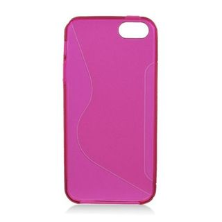 Insten Hot Pink Clear S Shape TPU Rubber Candy Skin Case Cover For Apple iPhone 5/ 5S