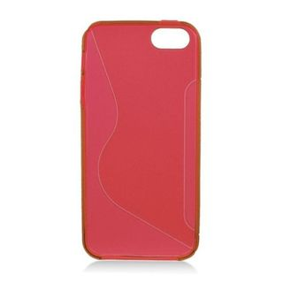 Insten Red Clear S Shape TPU Rubber Candy Skin Case Cover For Apple iPhone 5/ 5S
