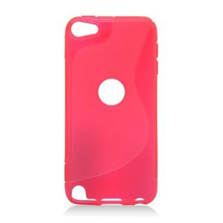 Insten Red Clear S Shape TPU Rubber Candy Skin Case Cover For Apple iPod Touch 5th Gen