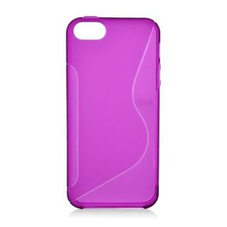 Insten Purple Clear S Shape TPU Rubber Candy Skin Case Cover For Apple iPhone 5/ 5S
