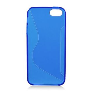 Insten Blue Clear S Shape TPU Rubber Candy Skin Case Cover For Apple iPhone 5/ 5S