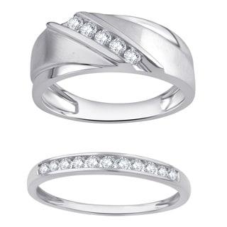 Divina 10K White Gold 1/2ct TDW Diamond Men's and Women's Wedding Band set comes in a box.(I-J,I2-I3)