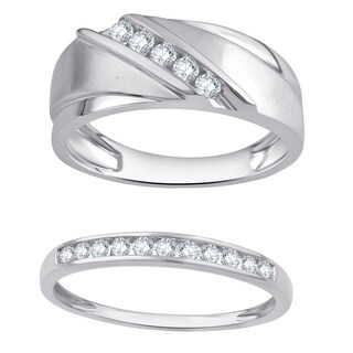 Divina 10K White Gold 1/2ct TDW Diamond Men's and Women's Wedding Band set comes in a box.(I-J,I2-I3)