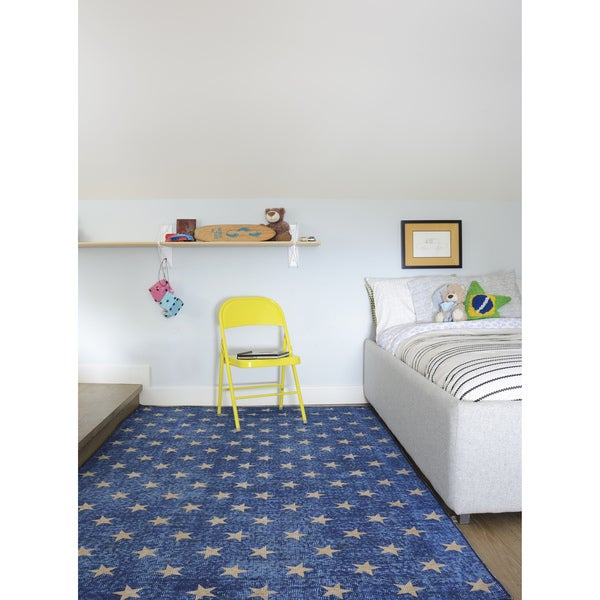 "Novogratz by Momeni District Blue Stars Rug (7'6"" x 9'6"") - 7'6"" x 9'6"""