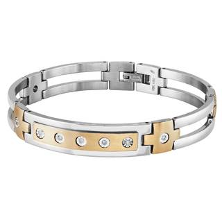 Two-tone 10k Yellow Gold and Stainless Steel Men's 1/5ct TDW Diamond Bracelet