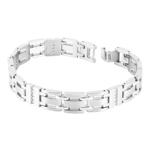 Men's Stainless Steel 1/2ct TDW Diamond Bracelet - Silver