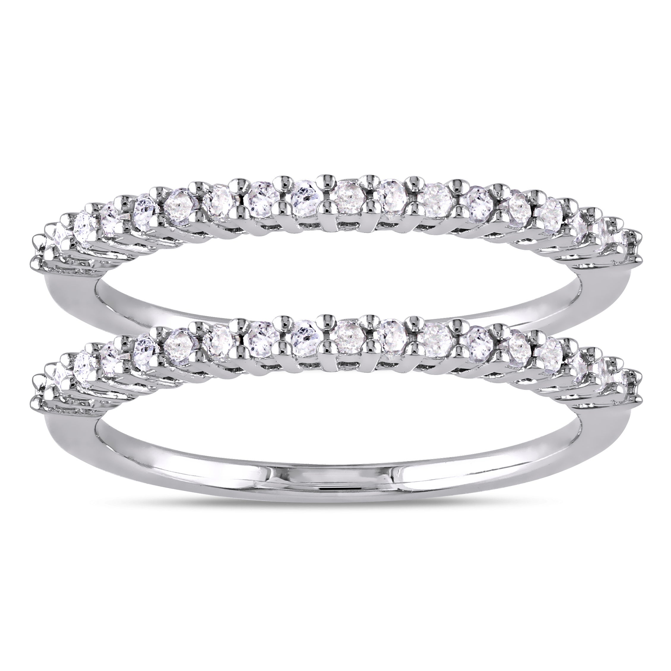 .925 Sterling Silver 3-row Eternity Wedding Band Ring 50% OFF Engagement & Wedding