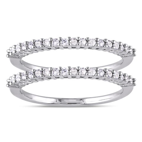 Miadora Sterling Silver 1/3ct TDW Diamond 2-Piece Stackable Semi-Eternity Ring Set - White