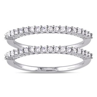 Miadora Sterling Silver 1/3ct TDW Diamond 2-Piece Stackable Semi-Eternity Ring Set