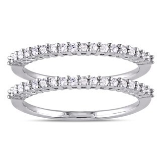 Miadora Sterling Silver 1/3ct TDW Diamond 2-Piece Stackable Semi-Eternity Ring Set (More options available)