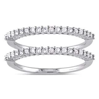 Miadora Sterling Silver 1 3ct Tdw Diamond 2 Piece Stackable Semi Eternity Ring