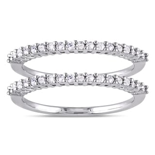 Miadora Sterling Silver 1/3ct TDW Diamond 2 Piece Stackable Semi Eternity  Ring
