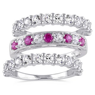 Miadora Sterling Silver Created Ruby and White Sapphire 3-Piece Semi-Eternity Milgrain Ring Set - Red
