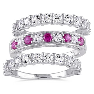 Miadora Sterling Silver Created Ruby and White Sapphire 3-Piece Semi-Eternity Milgrain Ring Set