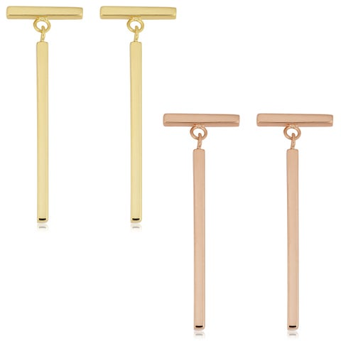 Fremada 14k Gold Bar Dangle Earrings (yellow gold or rose gold)
