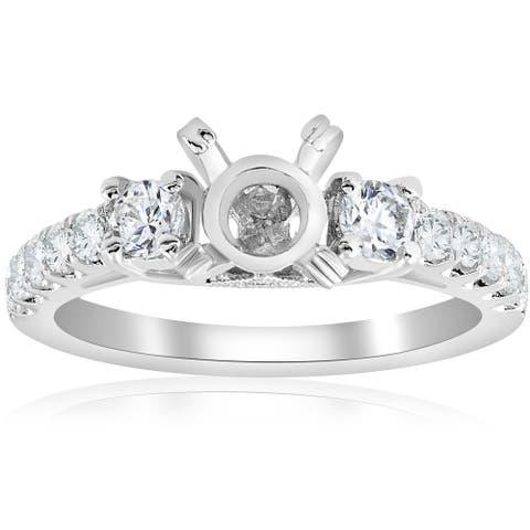 18K White Gold .56 ct TW Diamond 3-Stone Vintage Engagement Ring Setting Semi Mount (F-G,VVS1-VVS2)