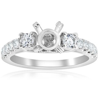 18K White Gold .56 ct TW Diamond 3-Stone Vintage Engagement Ring Setting Semi Mount (F-G,VVS1-VVS2)