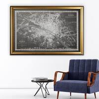 Vintage Paris Map Outline Grey - Gold Frame