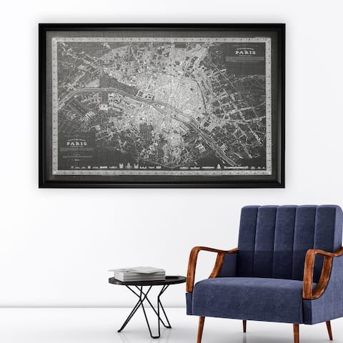 Vintage Paris Map Outline Grey - Black Frame