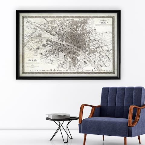Vintage Paris Map Outline - Black Frame