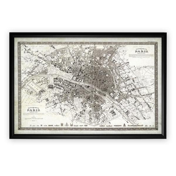 Vintage Paris Map Outline Black Frame Free Shipping Today - Paris map outline