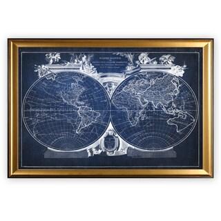 Vintage Wold Map VIII Blue - Gold Frame